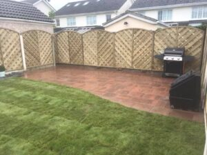 Gold Patio with Fencing Dublin