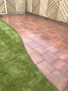 Gold Patio with V Arch Fencing