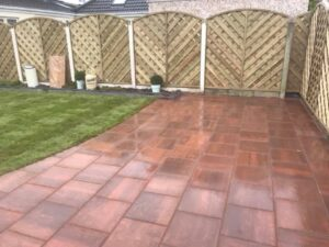 Gold Patio with V Arch Fencing Dublin
