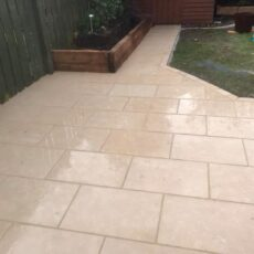 Limestone Patio Laid on Concrete 5